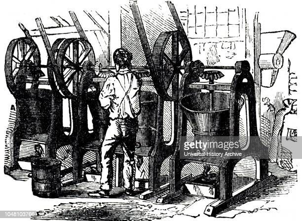 An engraving depicting the production of flake cocoa by grinding roasted cocoa beans Cocoa was a cheaper product than chocolate as it was produced...
