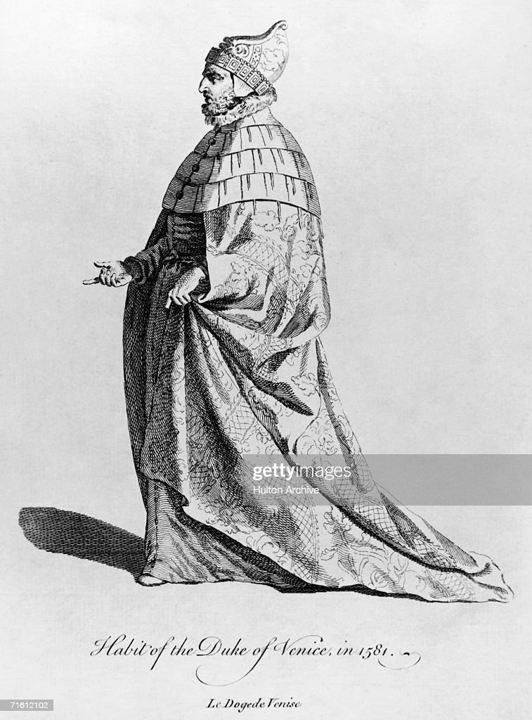 An engraving depicting the robes and ducal hat (corno ducale), worn by the Doge of Venice around 1581.