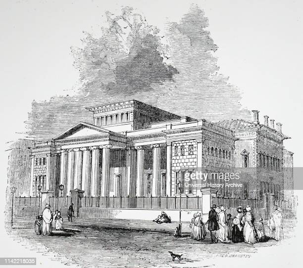 An engraving depicting the Royal Institution and Athenaeum in Manchester Dated 19th century