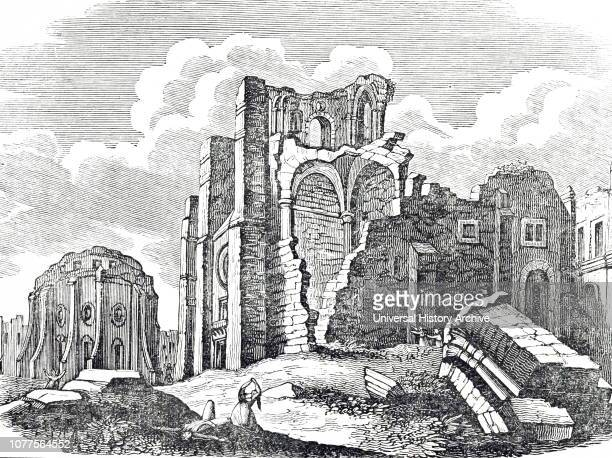 An engraving depicting the ruins of the Carmo Convent destroyed in the earthquake of 1755 Dated 19th century