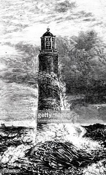An engraving depicting the Third Eddystone lighthouse on the Stone 13 miles southeast of Polperro Cornwall England Built by John Rudyard was first...