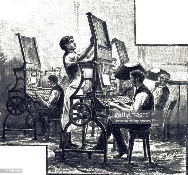 An engraving depicting the typesetters at The Times - note the bare and shaded gas jets for illumination. Dated 19th century.