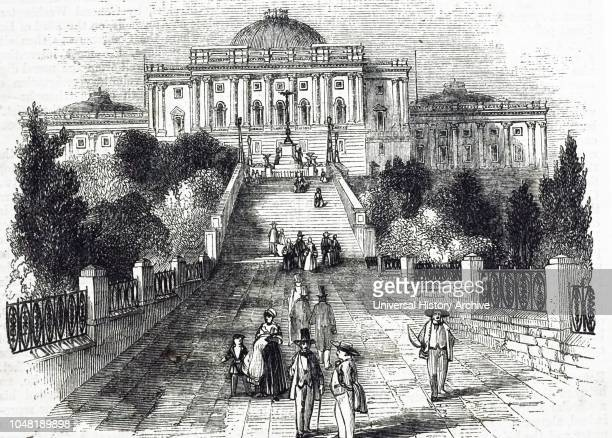 An engraving depicting the United States Capitol, Washington D.C. Dated 19th century.