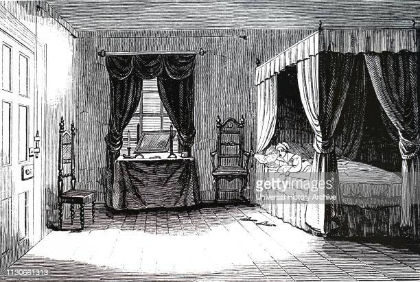 An engraving depicting the use of pulleys to make it possible to lock and unlock doors without getting out of bed Dated 19th century