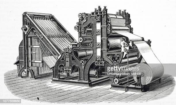 An engraving depicting the Walter rotary press, installed for printing The Times in 1866. Two such machines, each producing 11,000 copies per hour,...