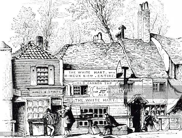 An engraving depicting The White Hart Inn, Knightsbridge, London. This inn was a watering house for hackney carriages as well as a resting place for...
