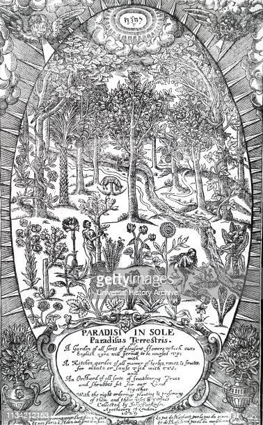 An engraving depicting Title page of John Parkinson's 'Sole Paradisus Terrestris' London 1629 depicting Adam and Eve in the Garden of Eden gathering...