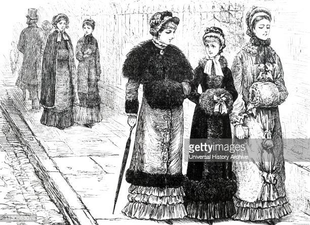 An engraving depicting young women with muffs to keep their hands warm during the colder weather Illustrated by Mary Ellen Edwards an English artist...