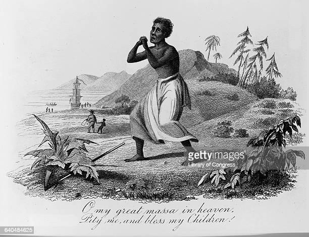 An engraving depicts an African American slave as he stands with his hands clasped in prayer and his eyes rolled heavenward praying O my great massa...