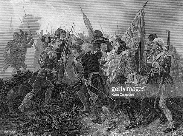 An engraving depicts British commander General James Wolfe assisted from the battlefield by his troops, Quebec, Canada, 1759. Wolfe died from his...