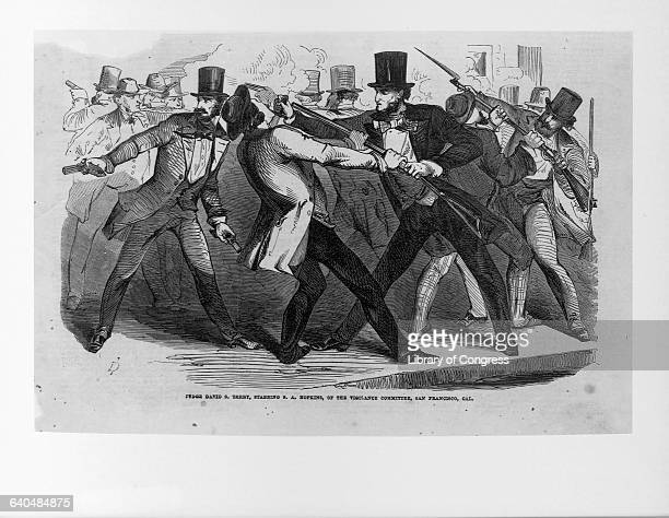 An engraving depicts California Supreme Court Justice David S Terry stabbing vigilance committee member SA Hopkins Given to violence in 1859 Terry...