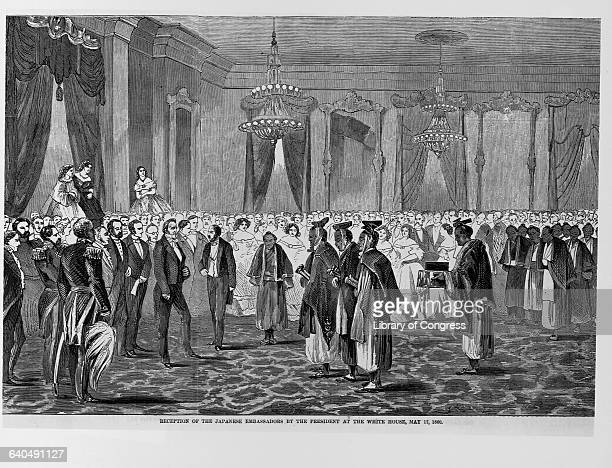An engraving depicts President James Buchanan's reception for several Japanese ambassadors in the White House on May 17 1860   Located in Library of...