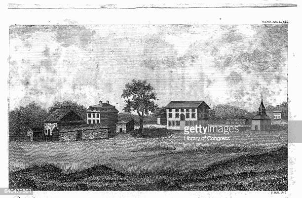 An engraving from 1793 or 1794 shows the village green at Lexington, Massachusetts, the site of the first shots of the Revolutionary War on April 19,...