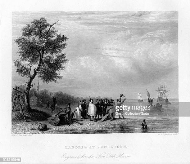 An engraving from a painting depicting members of the Virginia Company of London England landing at Jamestown their larger ships can be seen anchored...