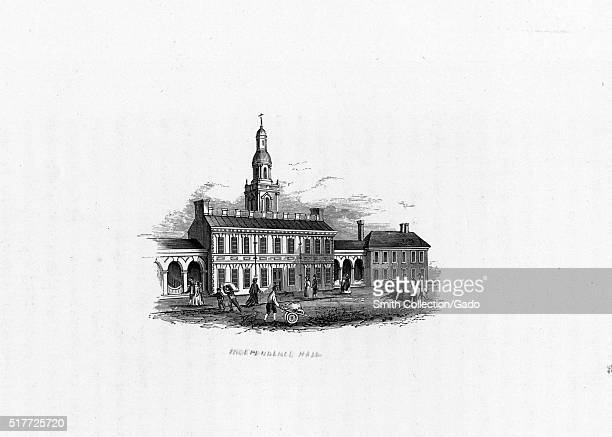 An engraving from a painting of Independence Hall both the United States Declaration of Independence and the United States Constitution were debated...