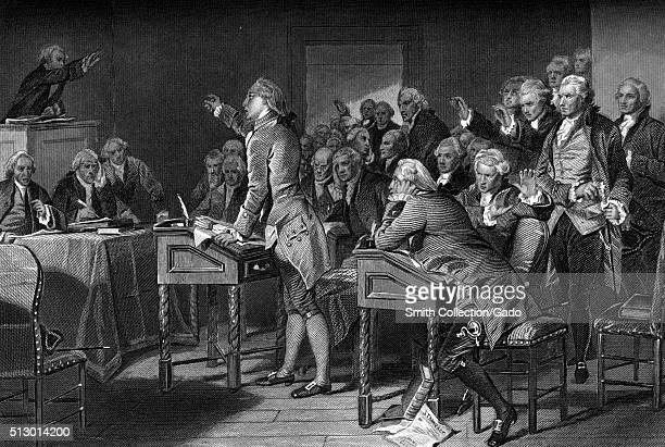 An engraving from a painting of Patrick Henry delivering an address before the Virginia Assembly he was a Founding Father who became the first and...