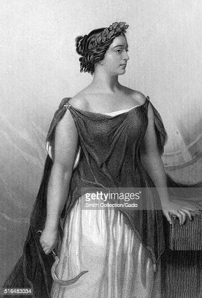 An engraving from a portrait of Giulia Grisi appearing in her costume from the opera Norma she was an Italian opera singer who was one of the leading...