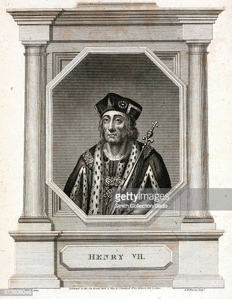 An engraving from a portrait of King Henry VII he was the last King of England to gain power through battle he establish the House of Tudor and is...