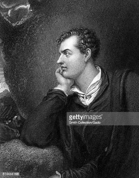 An engraving from a portrait of Lord Byron he is shown in a pensive posture with his head rested against his hand he is looking in to the distance he...