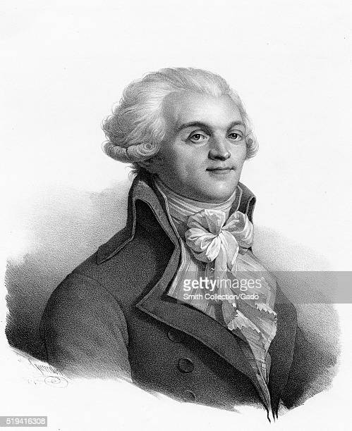 An engraving from a portrait of Maximilien Robespierre a French lawyer and politician known for his support of the poor and social causes during the...