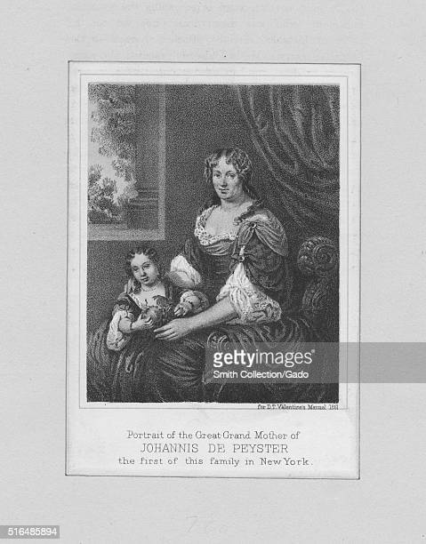 An engraving from a portrait of the great-grandmother of Johannes de Peyster, he was the 23rd Mayor of New York City, his brother and brother-in-law...