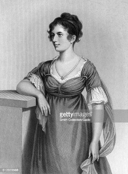 An engraving from a three quarter length portrait of Sally Foster Otis her husband was a congressman and businessman named Harrison Gray Otis and she...