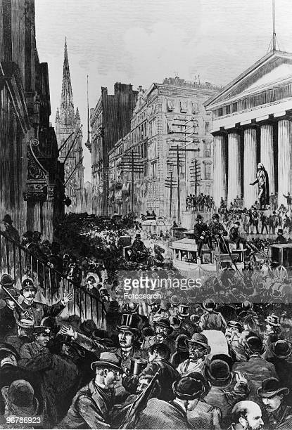 An Engraving from Harper's Weekly of the Panic Wall Street May 14th 1884