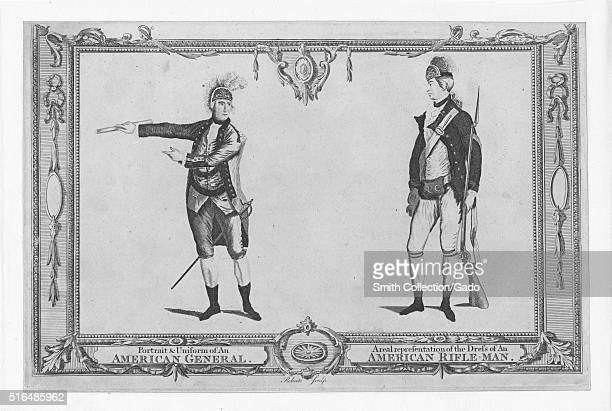 An engraving from two full length portraits of members of the American military during the American Revolutionary War the soldier on the left is a...