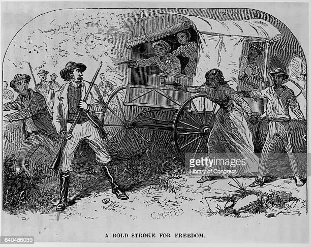 An engraving from William Still's book The Underground Railroad depicts fugitive African American Slaves shooting slave catchers who pursue them as...