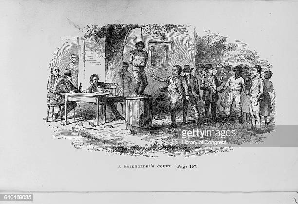 An engraving in Memoirs of a Fugitive entitled, A Freeholder's Court depicts an African American slave standing on a barrel with a noose tied around...