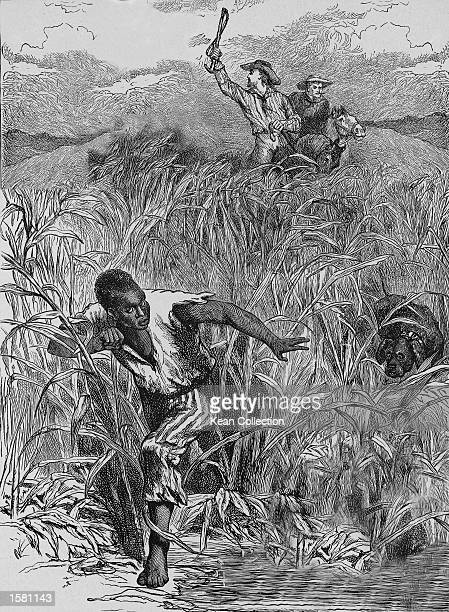 An engraving of a Black male slave fleeing from two Caucasian men on horseback during a 'slavehunt' mid19th century