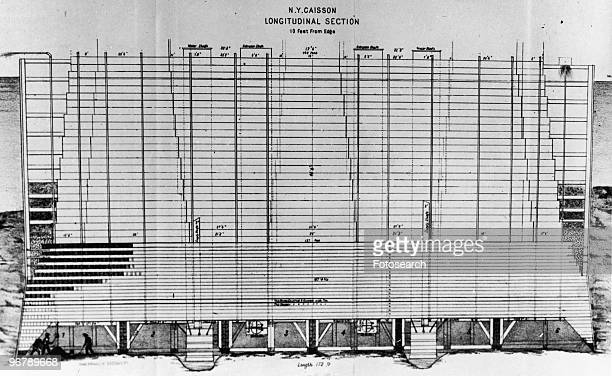 Brooklyn bridge drawing stock photos and pictures getty images an engraving of a blueprint for construction of brooklyn bridge with text ny caisson longitudinal malvernweather Choice Image