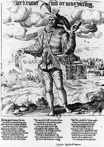 An Engraving of a German Newsvendor during the 16th...