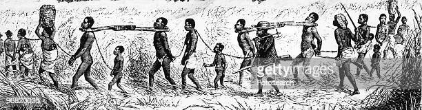An Engraving of a Group of Black People in Shackles being Led to the Coast for Shipment Overseas circa 1860