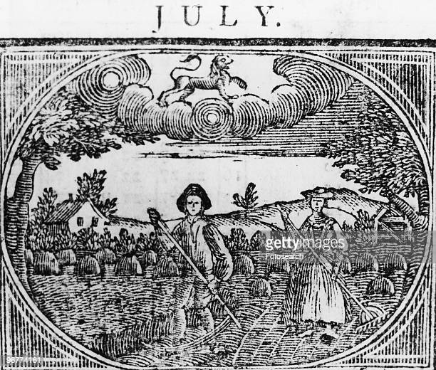 An Engraving of a Male and Female Farmers Working in the Field circa 1780