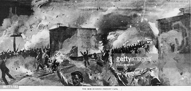 An Engraving of a Mob Burning Freight Cars during the Pullman Strike in Illinois circa 1894