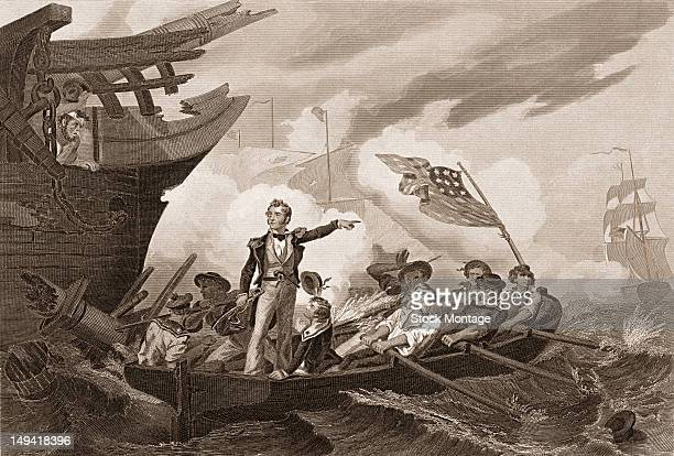 An engraving of a naval engagement of the War of 1812 depicts American Commodore Oliver Hazard Perry as he leaves his sinking flagship 'Lawrence' for...