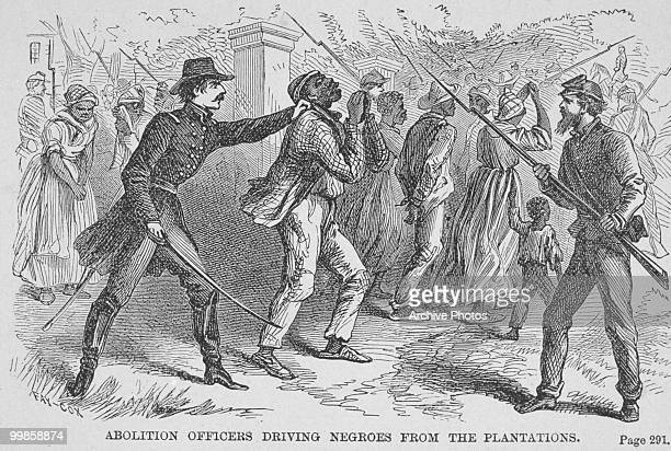 An engraving of abolition officers driving Black enslaved people from plantations, circa 1800s.