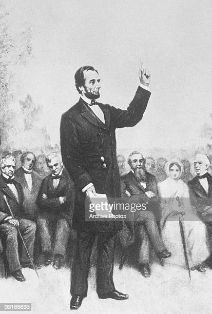 An engraving of Abraham Lincoln's Gettysburg Address on 19 November 1863
