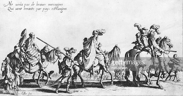 An Engraving of armed Gypsies on Horseback Holding French Matchlock long guns by Jacques Callot circa 1620