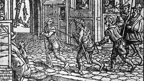 An Engraving of Beggars being Whipped by Statue, circa...