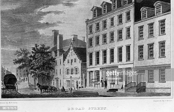 An Engraving of Broad Street by J Archer with Text 'Broad Street Custom House in the Distance' circa 1831