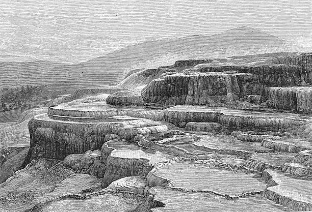 An engraving of 'Canyons of Yellowstone Park,' Wyoming....