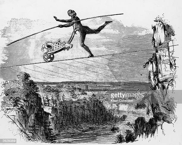 An engraving of Charles Blondin, crossing the Niagara on a tioghtrope dressed as an ape and pushing a wheelbarrow, Niagara, New York, July 14, 1859.