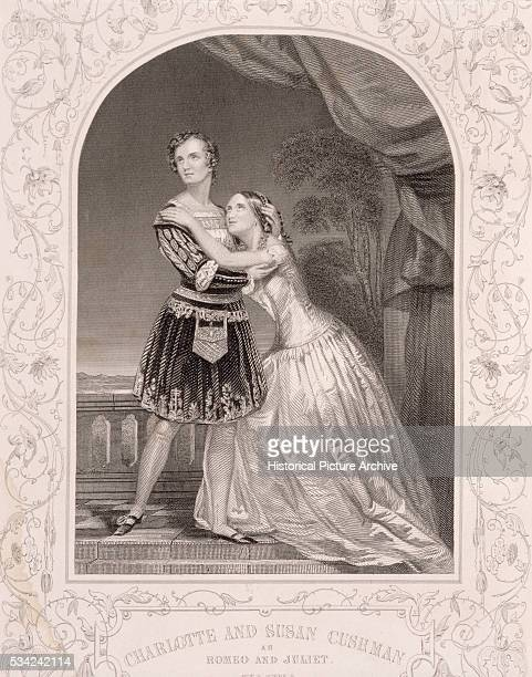 An engraving of Charlotte and Susanne Cushman as Shakespeare's Romeo and Juliet