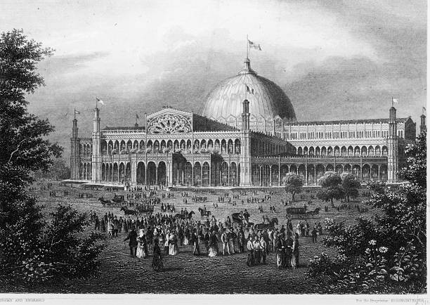 An Engraving of Crystal Palace, New York City, circa...