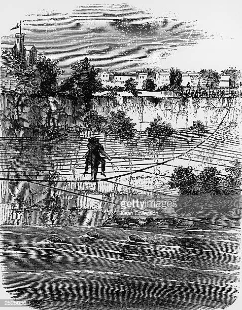 An engraving of French tightrope walker Charles Blondin crossing the Niagara on a tightrope with a man on his back, circa 1959.