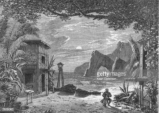 An engraving of French tightrope walker Charles Blondin dressed as an ape and hugging a child against a backdrop of a house on the coast of Brazil as...