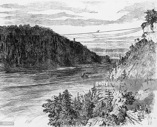 An engraving of French tightrope walker Charles Blondin making his historic first crossing of Niagara Falls, New York, June 30, 1859.