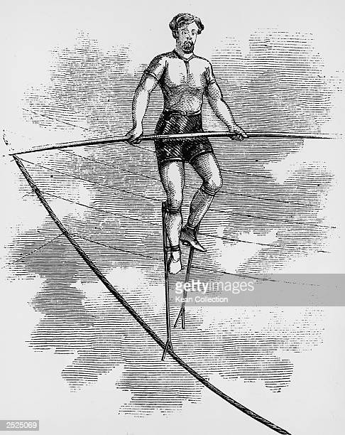 An engraving of French tightrope walker Charles Blondin walking on a tightrope on stilts, 1860.